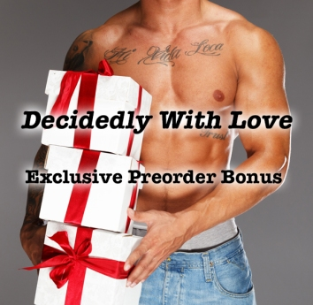 Man with tattooed muscular torso with gift boxes